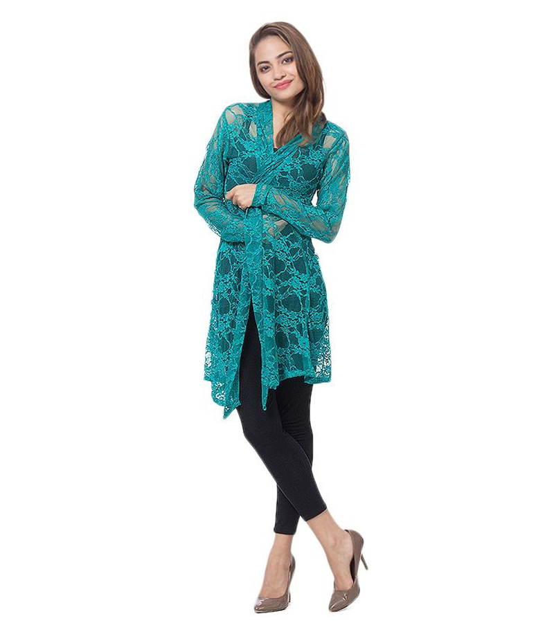 Women's Sea Green Cotton Net Shrug. NS-SGN-07