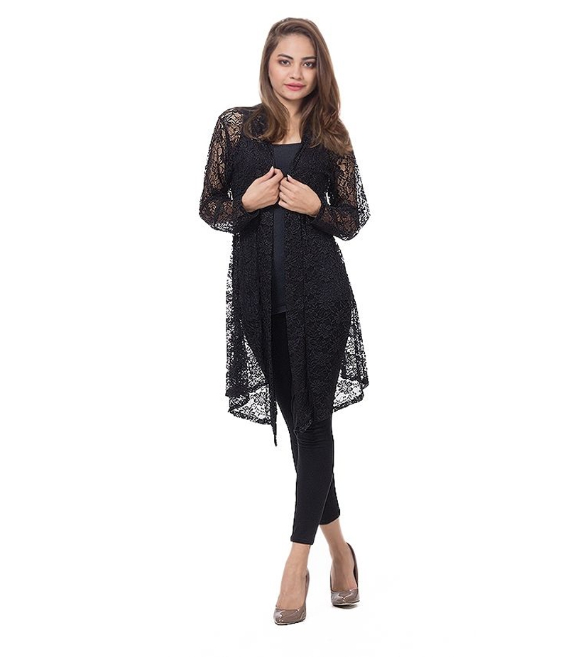 Women's Black Cotton Net Shrug. NSBLK-01