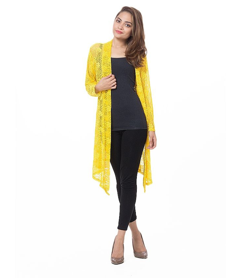 Women's Yellow Cotton Net Shrug. NSYL-04