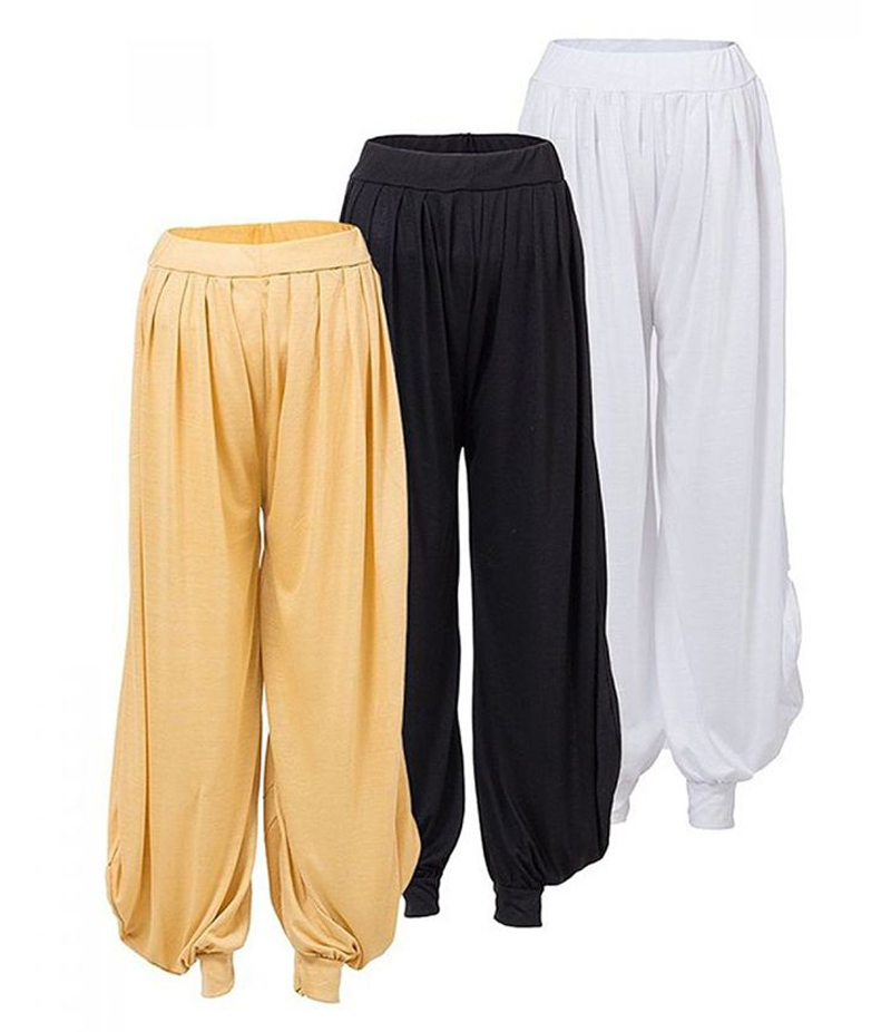 Women's Pack of 3 Black Cotton Jersey Harem Pant. ZMC-P3-W18