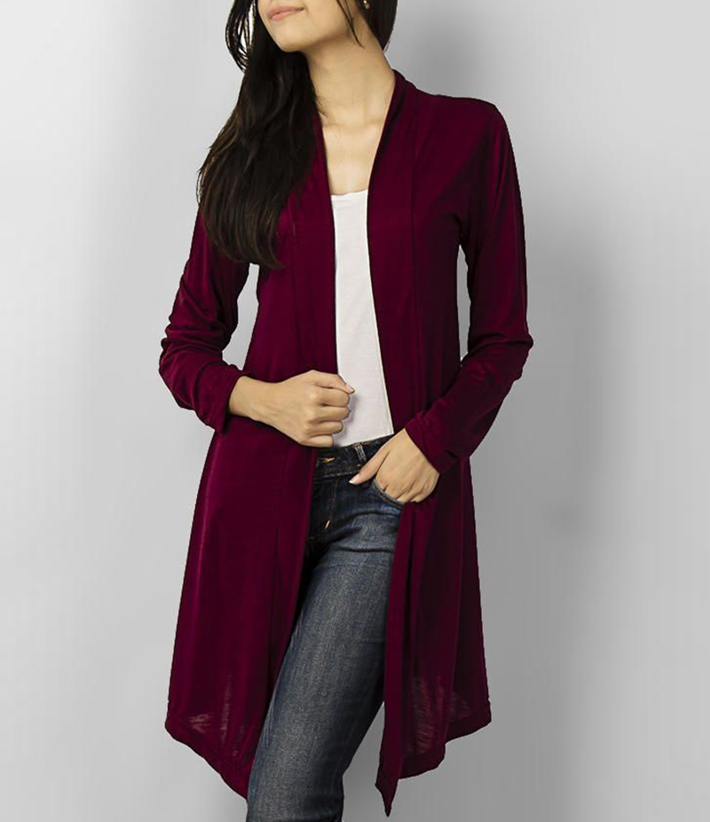 Women's Maroon Poly-Viscose Shrug. ZMC-216