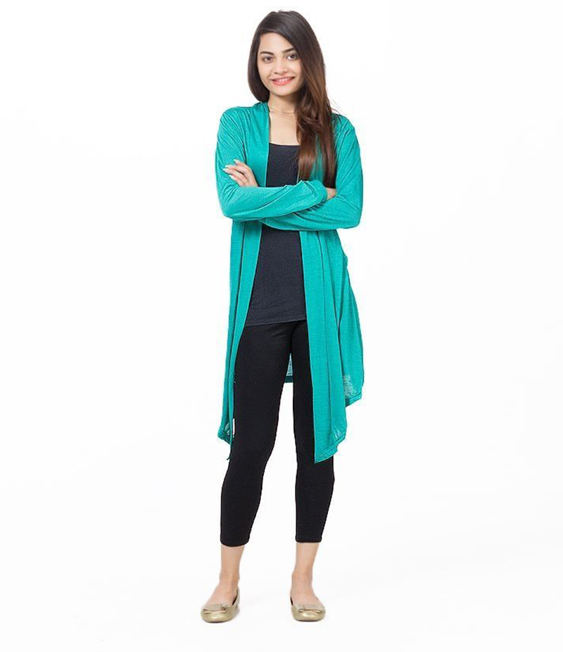 Women's Sea Green Poly-Viscose Shrug. ZMC-217