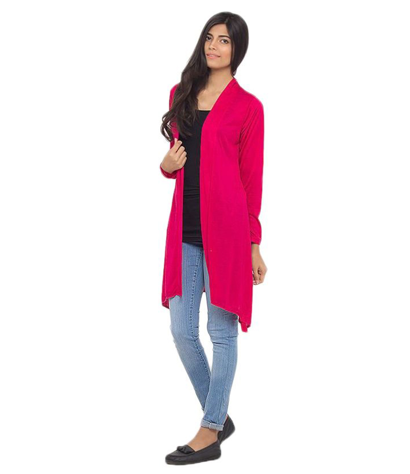 Women's Hot Pink Poly-Viscose Shrug. ZMC-219
