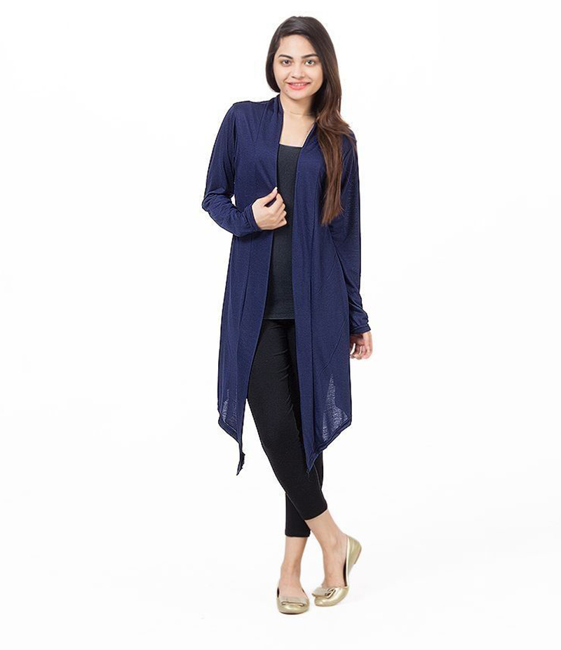 Women's Navy Blue Poly-Viscose Shrug. ZMC-220