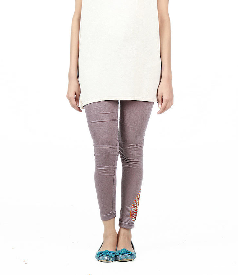 Women's Grey Cotton Jersey Embroidered Tights. ZMC-ET147