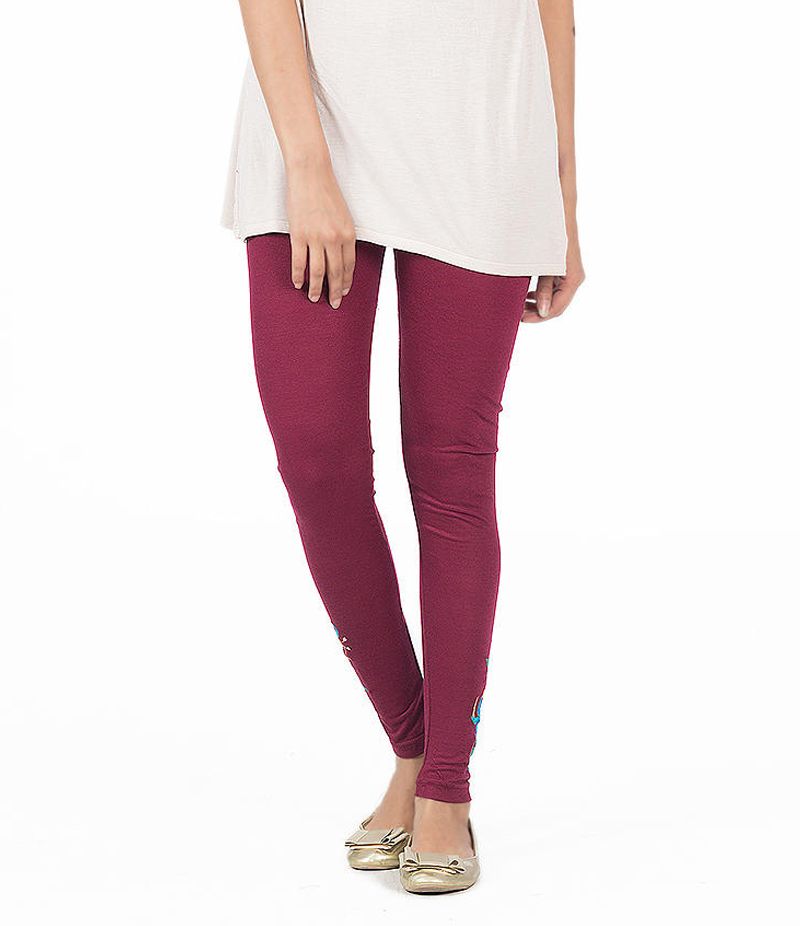 Women's Maroon Jersey Embroidered Tights. ZMC-ET155