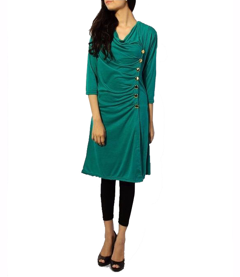 Women's GreenViscouse Side Buttoned Tunic. ZMC-G84