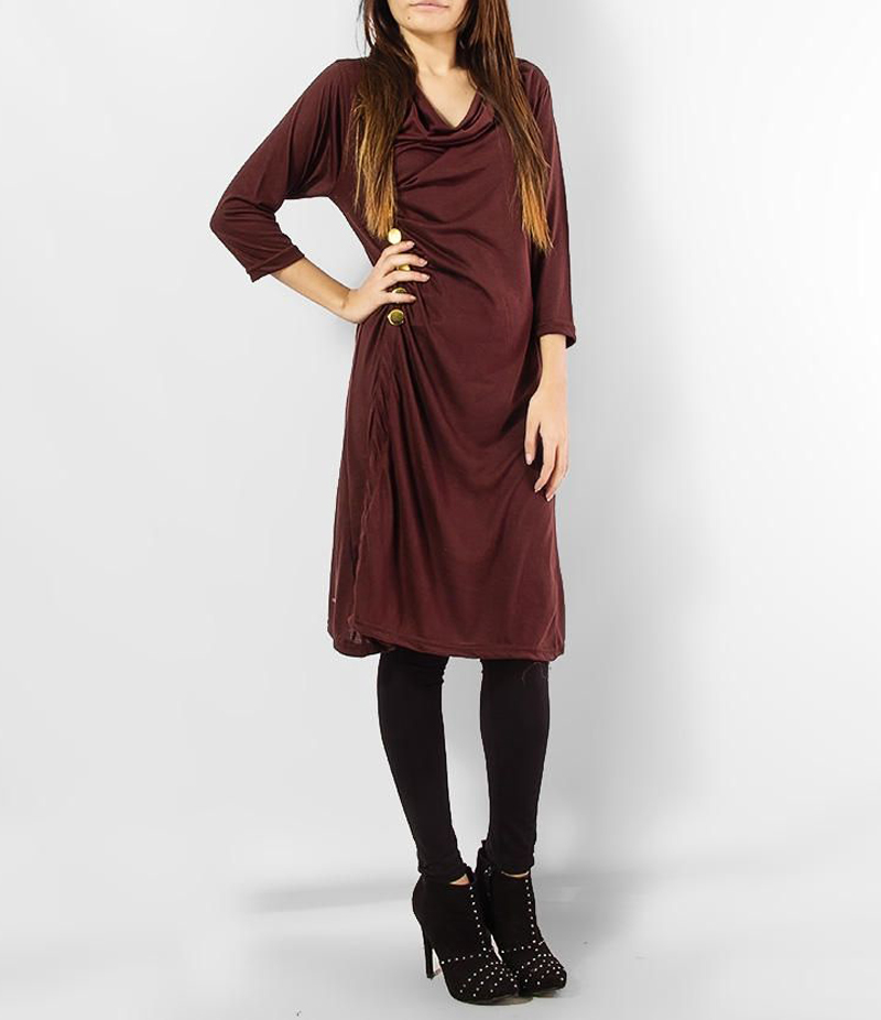 Women's Maroon Viscouse Side Buttoned Tunic. ZMC-M80