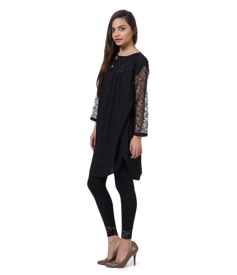 Women's Black Viscouse Tunic With Net Sleeves. ZMC-NM1