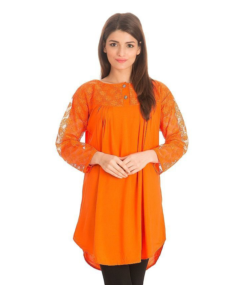Women's Orange Viscouse Tunic With Net Sleeves. ZMC-NM10