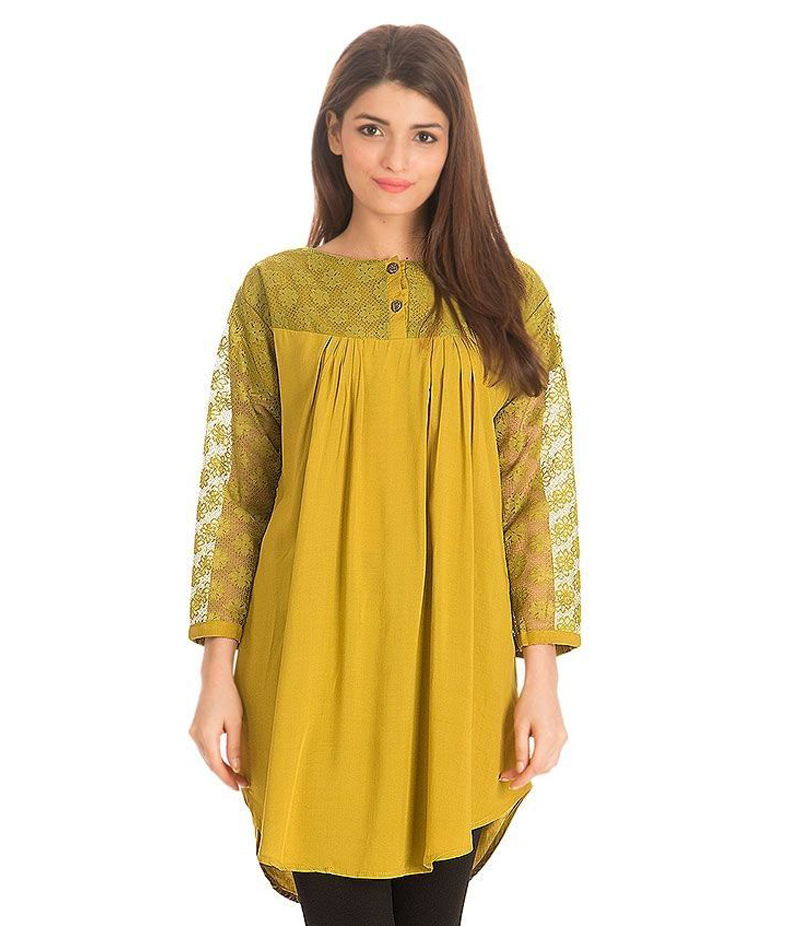 Women's Yellow Viscouse Tunic With Net Sleeves. ZMC-NM11