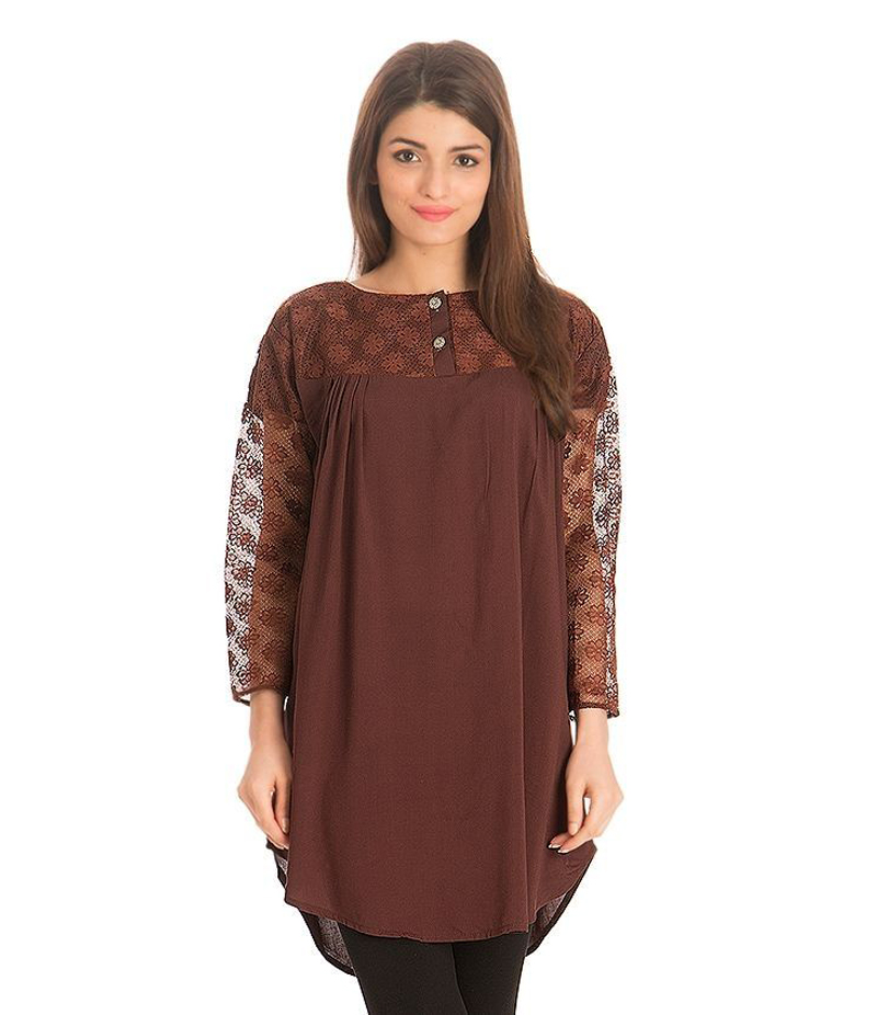 Women's Brown Viscouse Tunic With Net Sleeves. ZMC-NM12