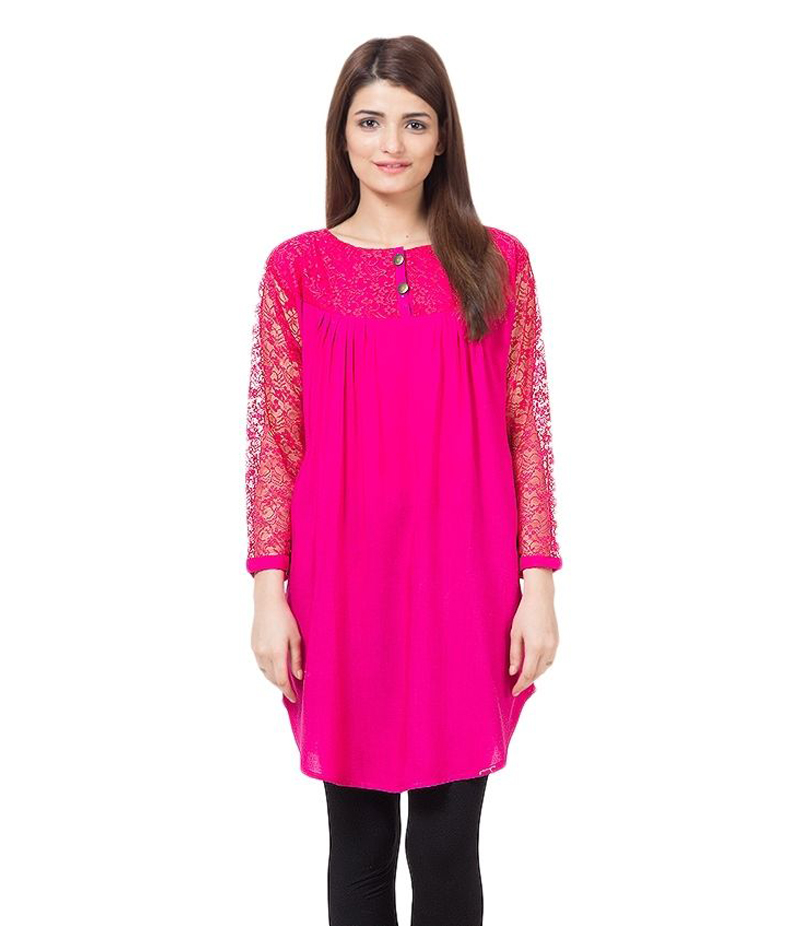 Women's hot Pink Viscouse Tunic With Net Sleeves. ZMC-NM2