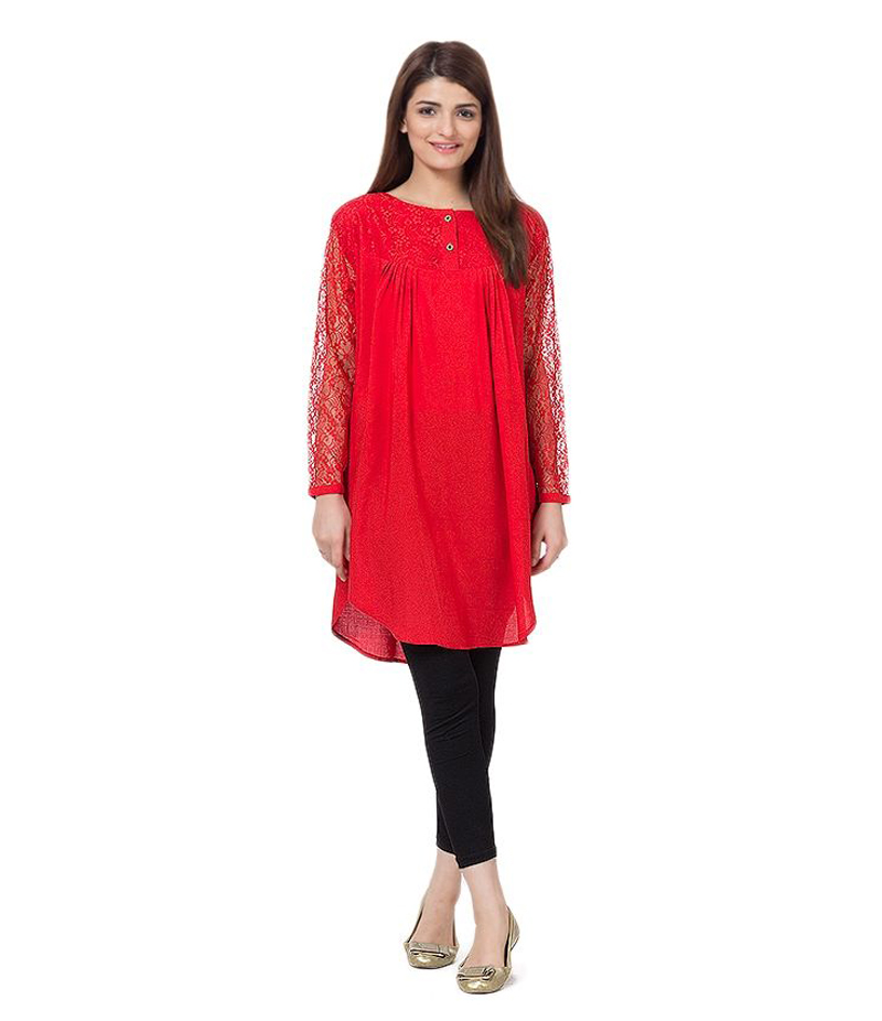 Women's Red Viscouse Tunic With Net Sleeves. ZMC-NM4