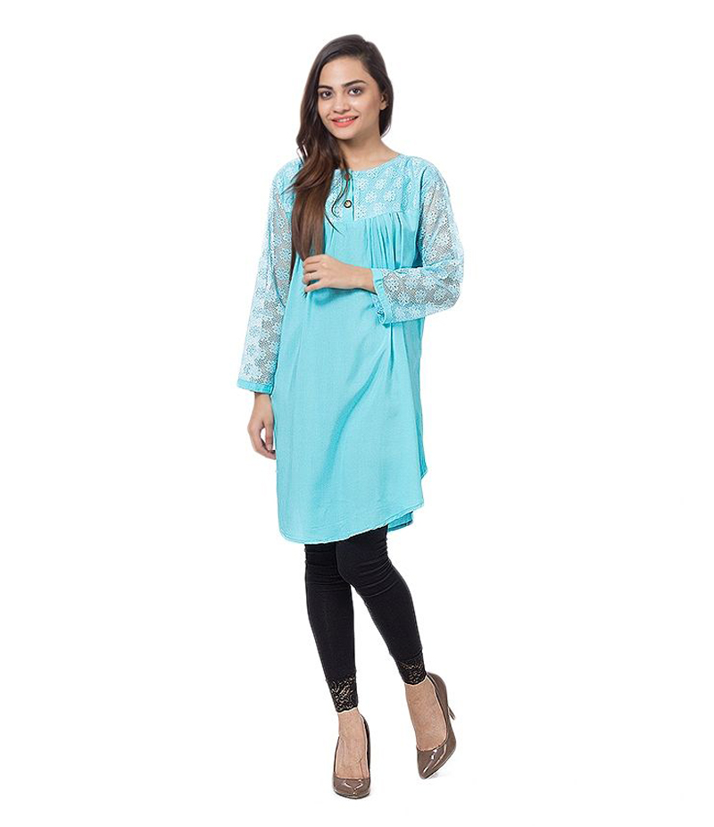 Women's Sky blue Viscouse Tunic With Net Sleeves. ZMC-NM6
