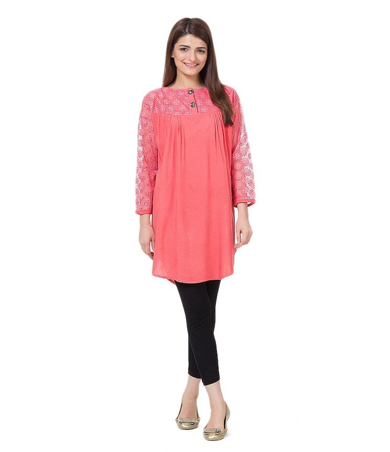 Women's Pink Viscouse Tunic With Net Sleeves. ZMC-NM7