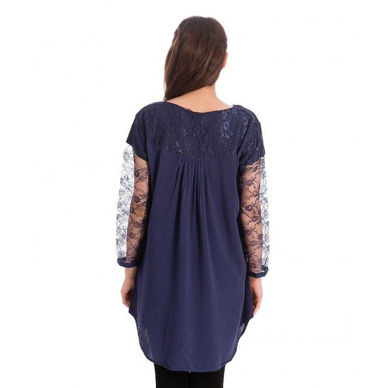 Women's Navy Blue Viscouse Tunic With Net Sleeves. ZMC-NM8