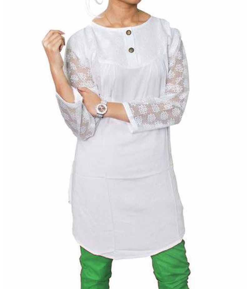 Women's White Viscouse Tunic With Net Sleeves. ZMC-NM9