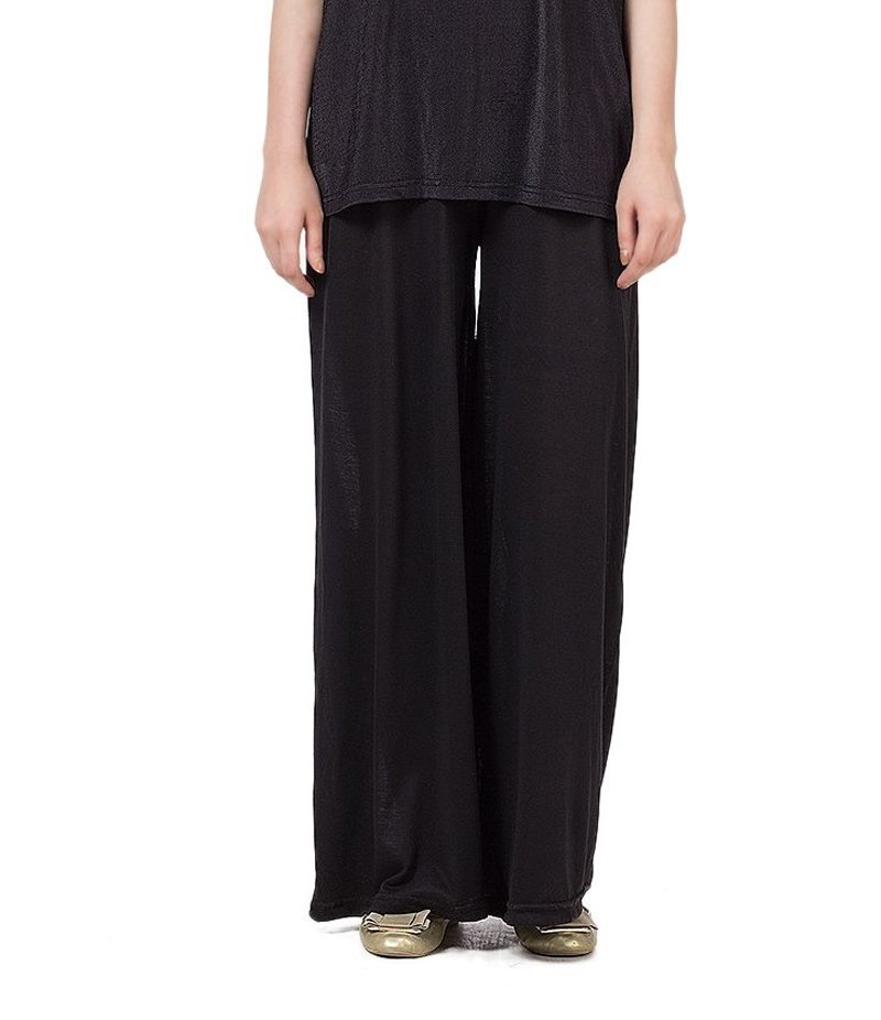 Women's Black Cotton Jersey Solid Plazzo Pant. ZMC-PL163
