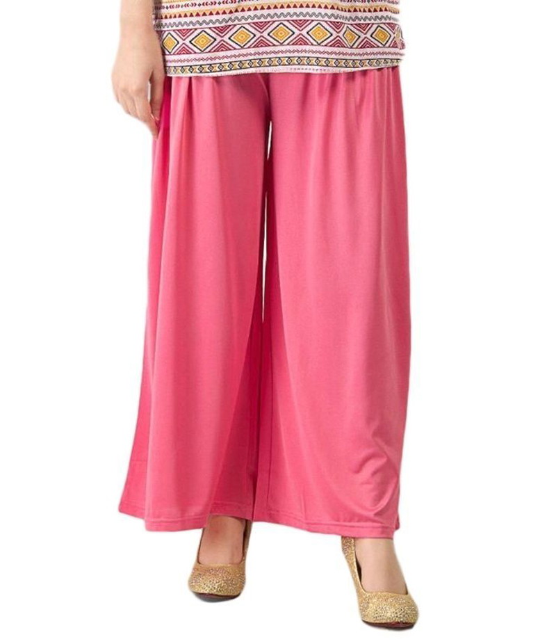Women's Hot Pink Cotton Jersey Solid Plazzo Pant. ZMC-PL164