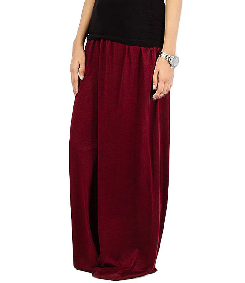 Women's Maroon Cotton Jersey Solid Plazzo Pant. ZMC-PL165
