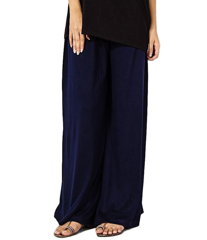 Women's Navy Blue Cotton Jersey Solid Plazzo Pant. ZMC-PL166