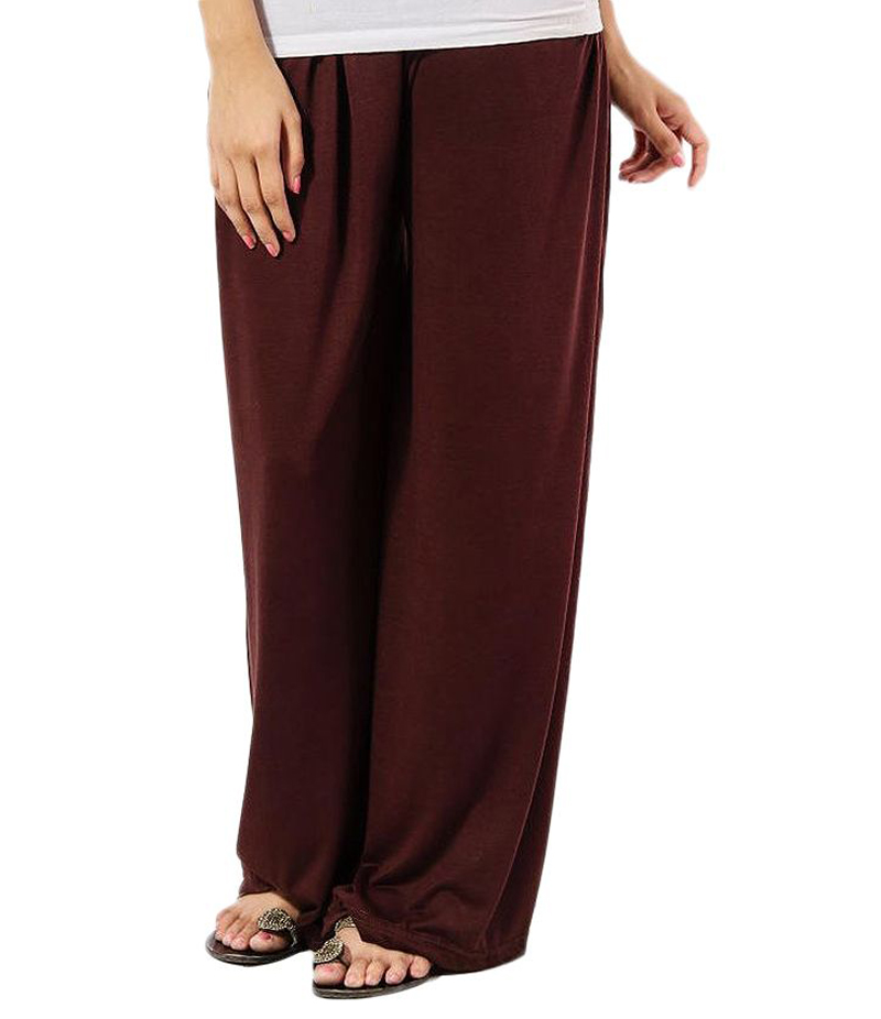 Women's Chocolate Brown Cotton Jersey Solid Plazzo Pant. ZMC-PL167