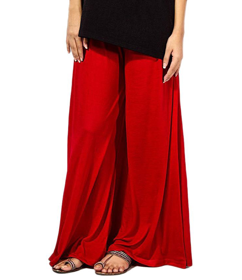 Women's Red Cotton Jersey Solid Plazzo Pant. ZMC-PL168