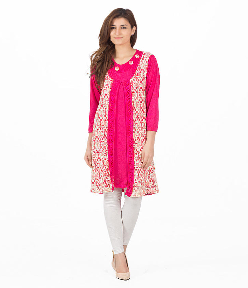 Women's Hot Pink Viscouse Double Panel Tunic. ZMC-T1