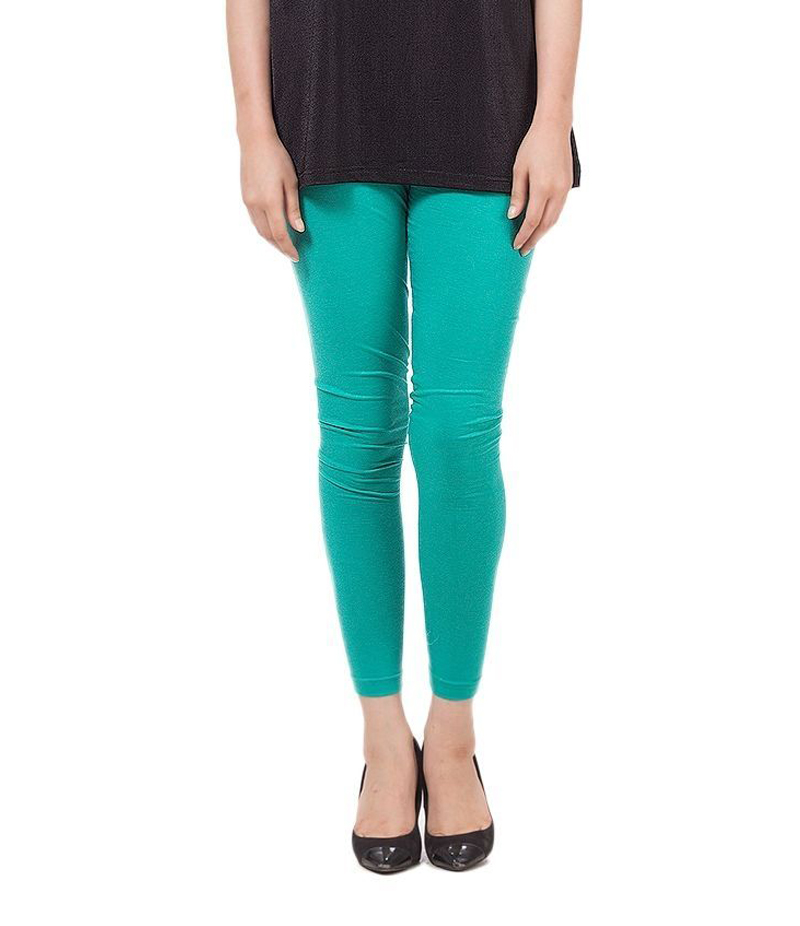 Women's Teaal Green Cotton Jersey Tights. ZMC- T136