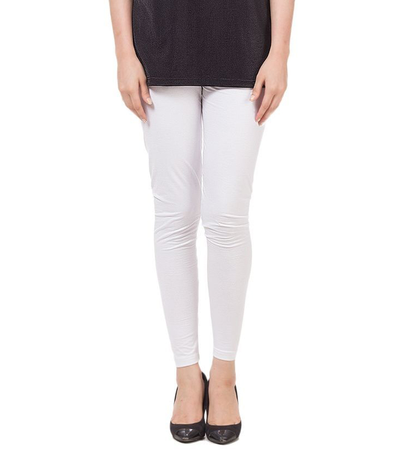Women's White Cotton Jersey Tights. ZMC-139