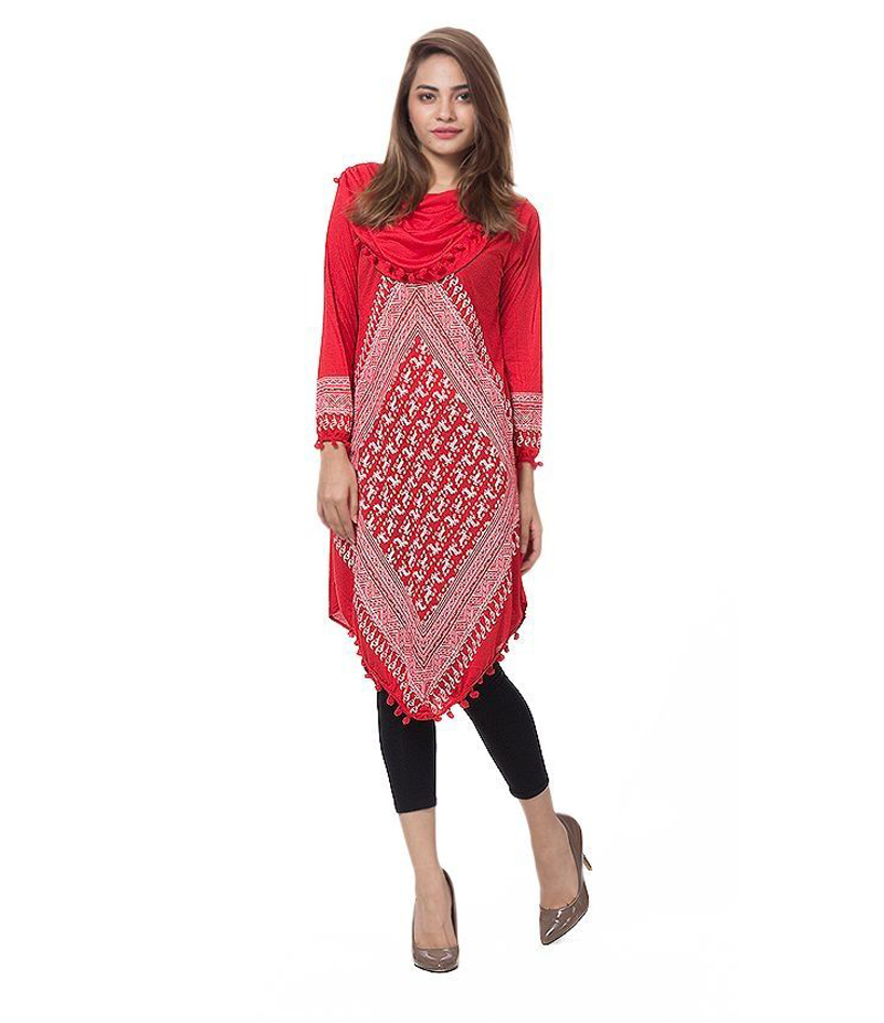 Women's Red Viscouse Traditional Kurti. ZMC-TK2