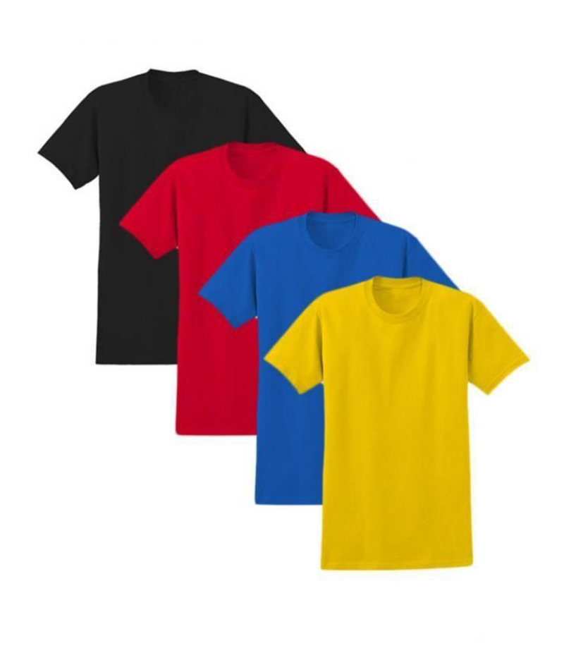 Men's Pack of 4 Multi-colored Solid T-shirts. ZTE-1702