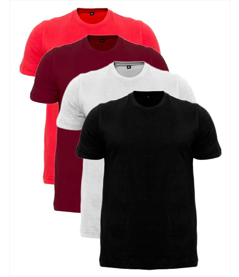 Men's Pack of 4 Multi-colored Solid T-shirts. ZTE-1703