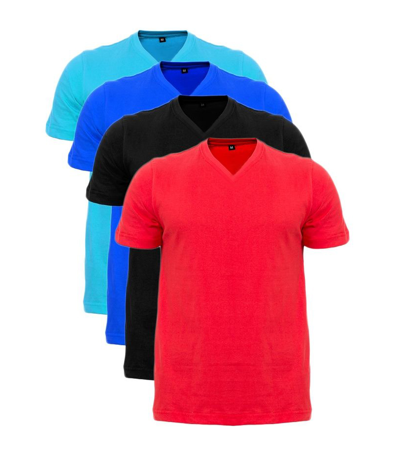 Men's Pack of 4 Multi-colored V-Neck Solid T-shirts. ZTE-1704